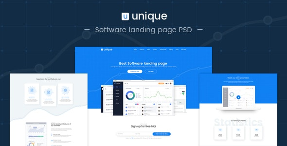 Unique-Software landing page PSD template - Software Technology