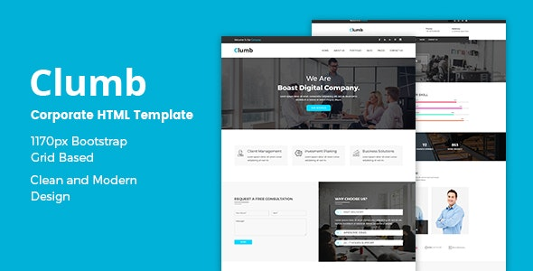 Clumb – Corporate Bootstrap Template - Business Corporate