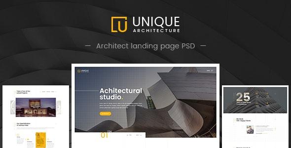 Unique - Architecture & Interior PSD Template - Creative Photoshop