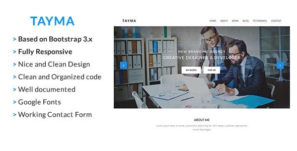 Tayma Resume & Minimal Portfolio Responsive HTML Template - Corporate Site Templates