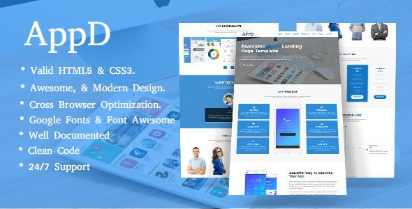 AppD-Apps Landing Page Responsive Template - Technology Site Templates