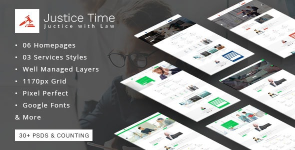 Justice Time - Law Firm and Lawyer PSD Template - Business Corporate