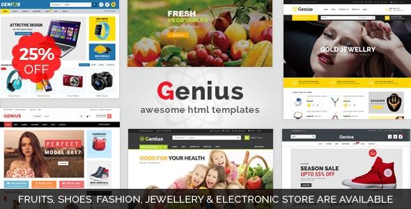 Genius | Organic, Fashion, Jewellery & Electronics Store Responsive HTML5 Template - Retail Site Templates