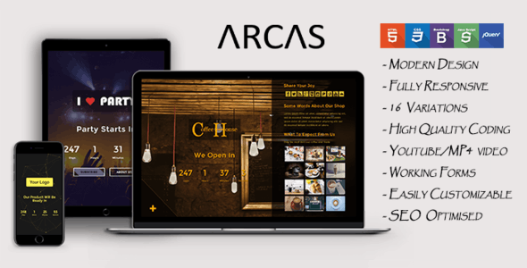 Arcas - Coming Soon Template - Under Construction Specialty Pages