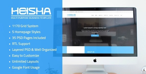 Heisha - Bussiness and Corporations PSD Template - Business Corporate