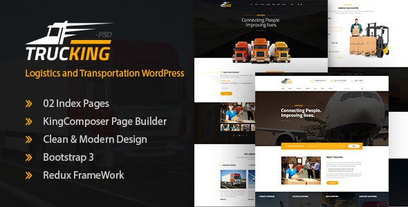 Trucking - Logistics and Transportation WordPress Theme - Business Corporate