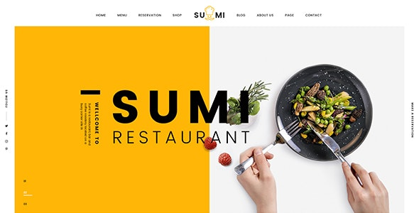 Sumi Restaurant HTML Template - Restaurants & Cafes Entertainment