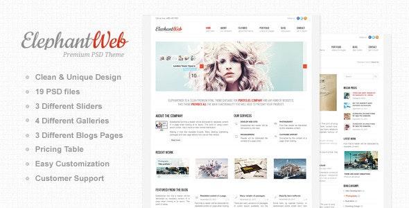 Elephant Web - Premium PSD Template - Photoshop UI Templates