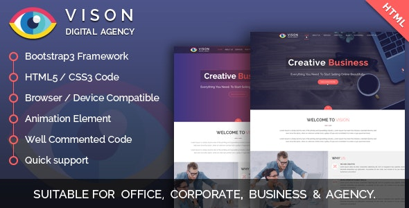 Vision Digital Agency – Multipurpose One Page HTML Template - Corporate Site Templates