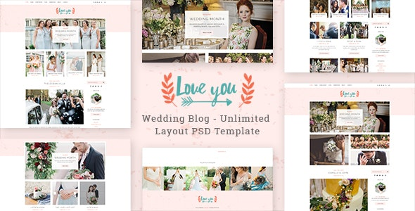 Love You - Wedding Blog PSD Template - Events Entertainment