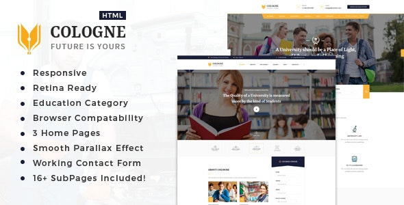 Cologne : Education  HTML5 Template - Business Corporate