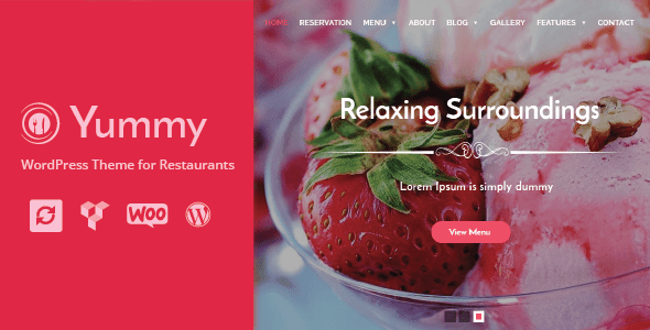 Yummy - Restaurant & Food Ordering WordPress Theme + Woocommerce - Restaurants & Cafes Entertainment