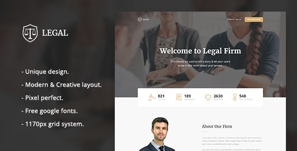 Legal - Law Firm Landing Page Template - Marketing Corporate