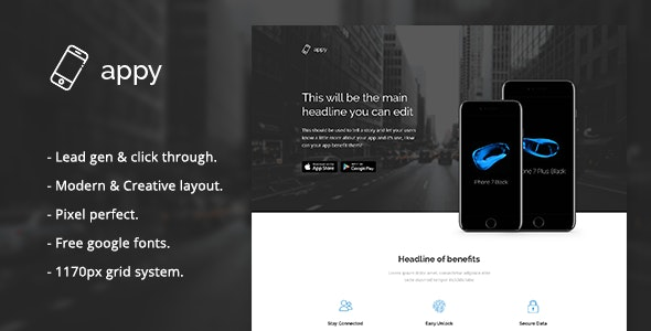Appy - App Landing Page PSD Template - Marketing Corporate