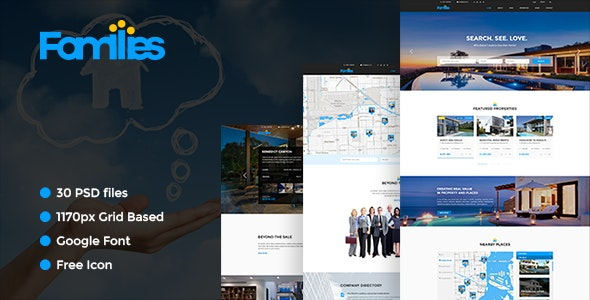 Families - Real Estate PSD Template - Business Corporate