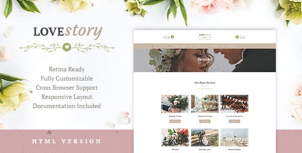 Love Story | Wedding and Event Planner Site Template