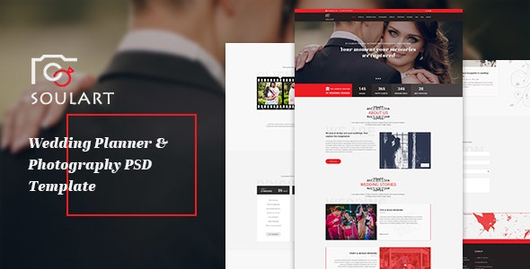 Soulart Wedding Planner & Photography PSD Template - Creative Photoshop