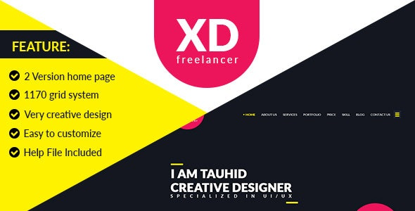 XD Freelancer- Personal/Agency Portfolio One Page PSD Template - Photoshop UI Templates