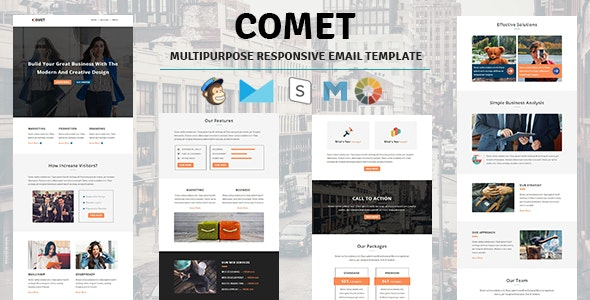 Comet - Email Template Multipurpose Responsive with Stampready Builder Access - Email Templates Marketing