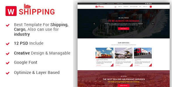 W-Shipping - The Shipping, Cargo, Logistics Industrial PSD Template - Business Corporate