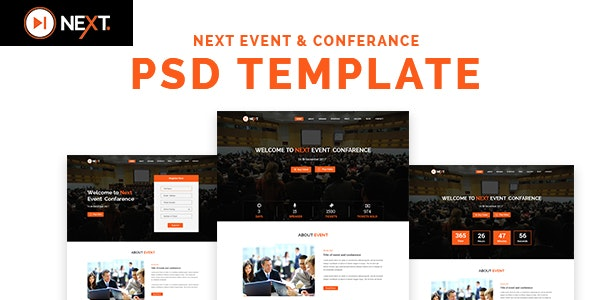 Next - Event and Conference Management PSD Template - Creative Photoshop