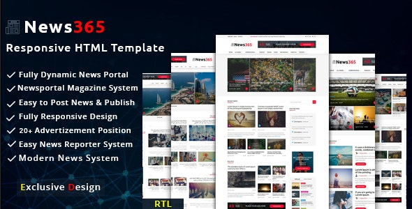News365 -  Multipurpose Newspaper and Blog HTML Template - Creative Site Templates