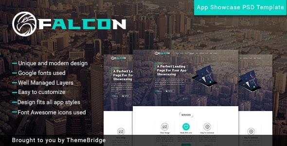 Falcon - Mobile App Landingpage - Photoshop UI Templates