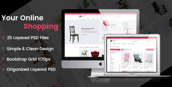 Online Shopping - eCommerce PSD Template - Retail Photoshop
