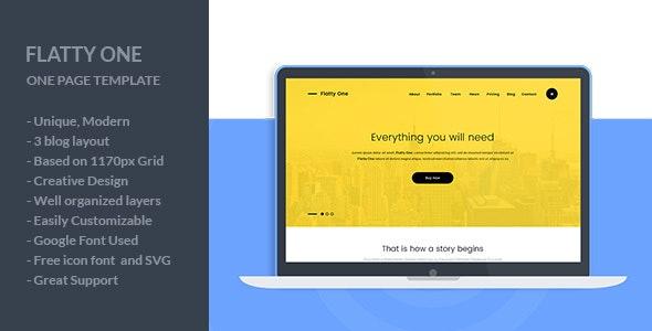 FlattyOne - One Page PSD Template - Creative PSD Templates