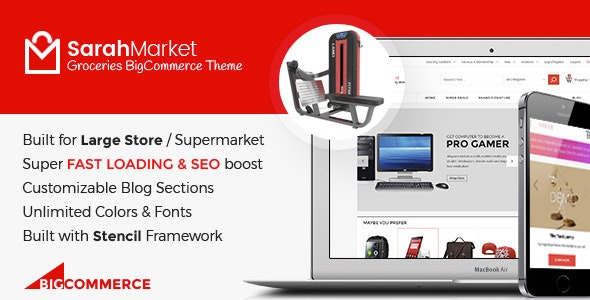 SarahMarket - Large Store Grocery Responsive BigCommerce Theme - BigCommerce eCommerce