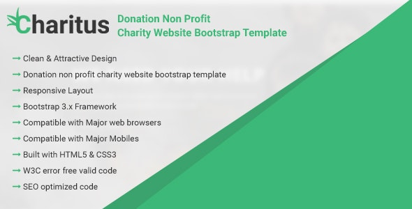Charitus - Donation Non Profit Charity Website Bootstrap Template - Charity Nonprofit