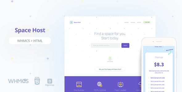 Spacehost WHMCS & HTML Landing Page