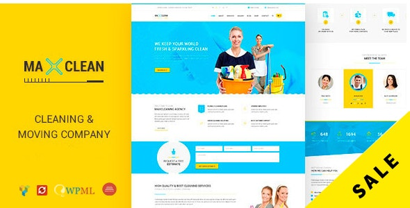 Max Cleaners & Movers - Cleaning Business Company WordPress Theme - Business Corporate