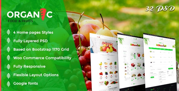 Organic Foods and Fruits PSD Template - Food Retail