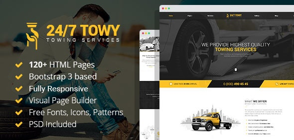 Towy - Emergency Auto Towing and Roadside Assistance Service HTML Template with Builder - Business Corporate