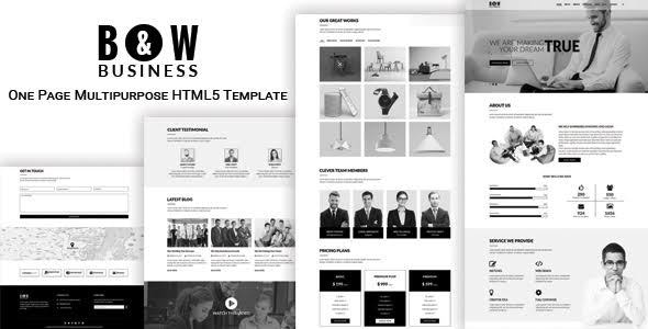 B & W - One Page Multipurpose HTML5 Template - Business Corporate