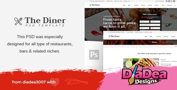 The Diner - Restaurant & Bar PSD Template - Food Retail