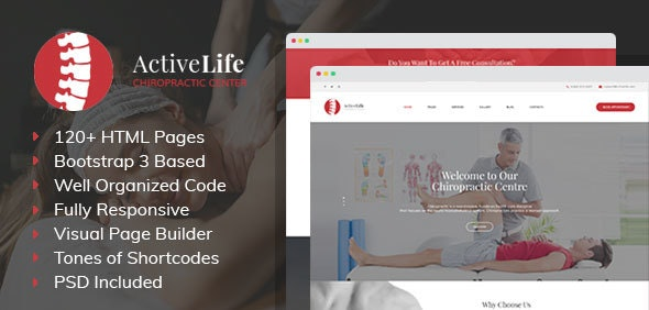 Active Life - Chiropractors and Massage HTML Template with Visual Builder - Health & Beauty Retail