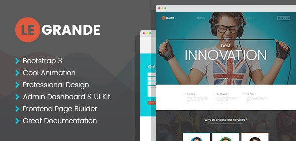 LeGrande - Corporate HTML Template with Visual Builder and Dashboard Pages - Corporate Site Templates
