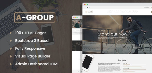 A-Group - Business Company HTML template with Visual Page Builder and Dashboard Pages - Business Corporate