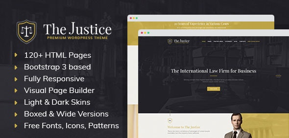 Justice - HTML template with Visual Page Builder for Advocate or Law Firm - Business Corporate