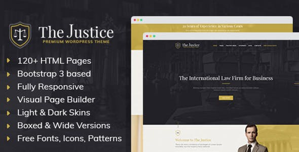 Justice - HTML template with Visual Page Builder for Advocate or Law Firm