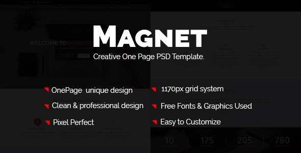 Magnettheme – Business One Page PSD Template. - Business Corporate