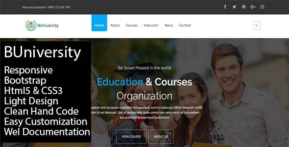 BUniversity One Page Education Template - Creative Site Templates