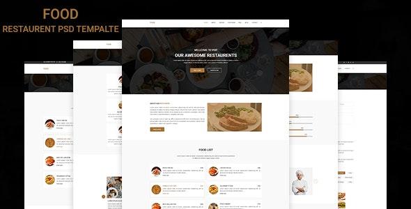 Food - Restaurant PSD Template - Restaurants & Cafes Entertainment