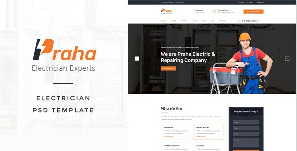 Praha - Electrician Experts PSD Template - Business Corporate