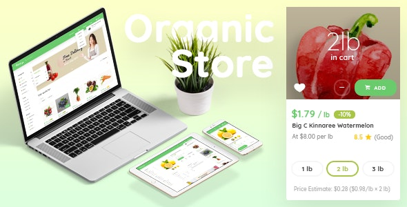 Organic Store - Organic Food PSD Template - Food Retail