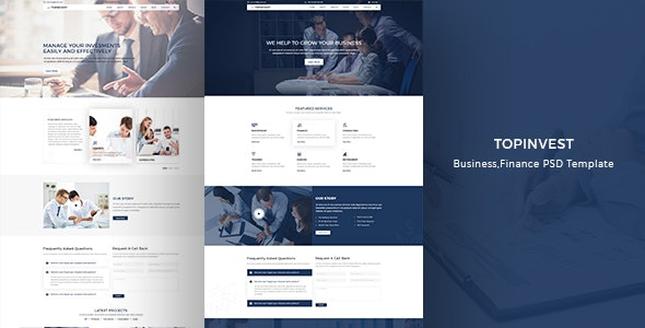 TopInvest- Business, Finance PSD template - Photoshop UI Templates