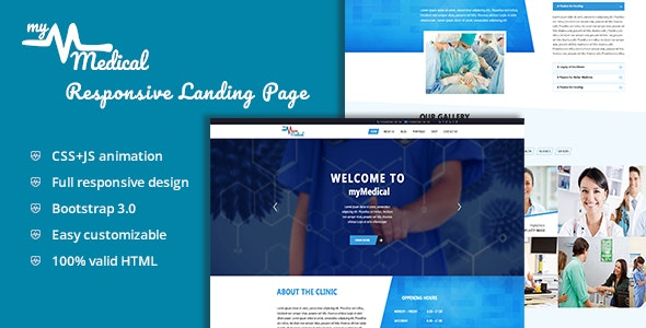 myMedical - Health & Doctor Landing Page HTML Template - Business Corporate