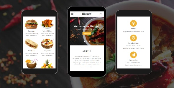 Hungry - Food and Restaurant Mobile Template - Mobile Site Templates